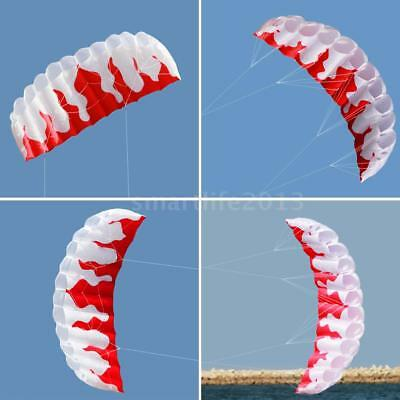 2M Outdoor Toys Dual Line Parafoil Parachute Stunt Sport Beach Red Kite I8Y9