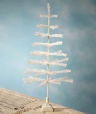"""Bethany Lowe 54"""" Ivory Feather Christmas Tabletop Tree with Resin Base"""