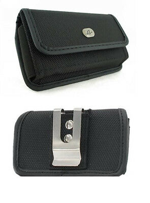 Black Canvas Case Belt Holster Pouch with Clip/Loop for Virgin Mobile ANS UL40
