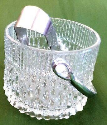 """Vintage 6"""" Mid Century Glass Ice Bucket with Silverplate Ice Tongs"""