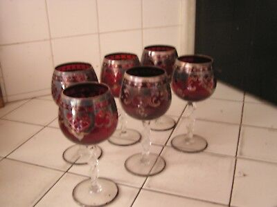 Lot 6  Antique Vintage Glasses Red with Overlay Beautiful