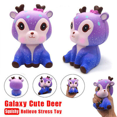 Galaxy Deer Cream Jumbo Scented Squishy Slow Rising Squeeze Strap Kids Toy CR