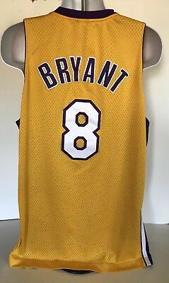 10bdbe4bb Reebok  8 Kobe Bryant Jersey Gold Swingman Sewn Los Angeles Lakers L Length  +2