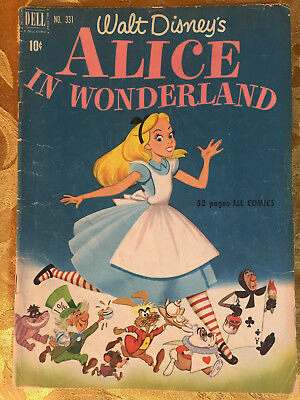 ALICE IN WONDERLAND  #331, 1951 -WALT DISNEY CLASSIC 52p DELL Comics VG