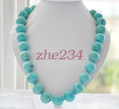 """8/10/12/14mm Natural Blue Turquoise Round Gemstone Beads Necklace 18""""AAA"""