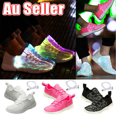 AU Adult Kid LED Fiber Optic Luminous Light up Shoes Sportswear Unisex Sneakers