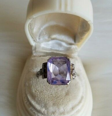 Antique Uncas Sterling Silver Ring with Faceted Amethyst Glass Setting