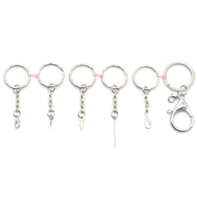 Split Key Ring Chain with Spring Hook Eye Screw Pin Top Drilled Lobster Clasp KK