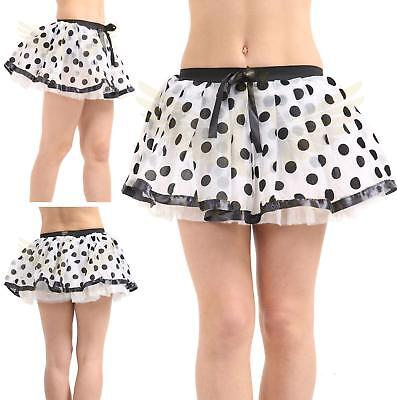 Ladies 50s Polka Dot Bow Chiffon Grease Swing Dance Black And White Netted Tutu