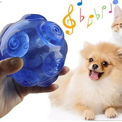Pet Toy Ball Cat Dog Squeaky Sound Teeth Chew Rubber Toy Ball Blue / Yellow