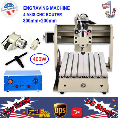 300W 4 Axis Mini CNC 3020 Router Engraver Drill Mill DIY Metal Wood 3D Cutter US