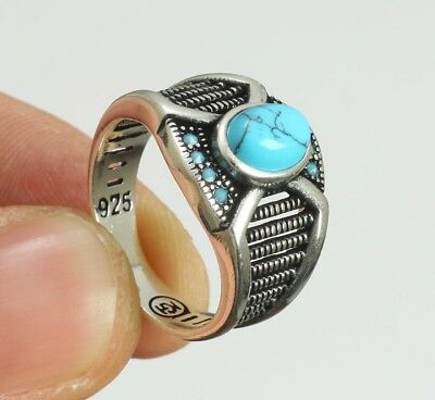 925 Sterling Silver Jewelry Mens Jewelry Blue Turquoise Men's Ring