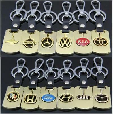 3D Gold Car Logos Titanium Key Chain Car Keychain Ring Keyfob Metal Keyrings NEW