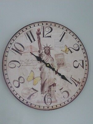 Home Decor Shabby Chic Large New York  USA Wall Clock Antique Vintage Style