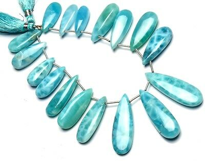 """Natural Gem Larimar Super Quality Smooth 23x10 to 37x12MM Big Pear Shape Beads8"""""""