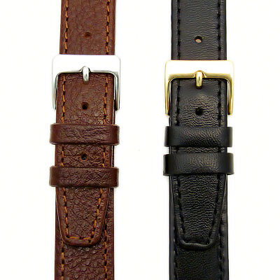 Genuine Leather Watch Band Odd Sizes 15mm 17mm 19mm Black or Brown