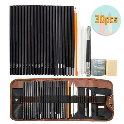 30pc Professional Drawing Artist Kit Set Pencils and Sketch Charcoal Art & Bag