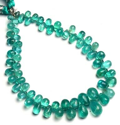"""Natural Gem Green Apatite Smooth 6x4 to 10x7MM Teardrop Shape Briolette Beads 8"""""""