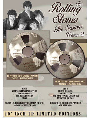 """THE ROLLING STONES THE SESSIONS Volume 2 10"""" limited edition clear RARE VINYL"""