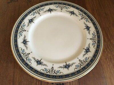 Minton GRASMERE Blue Floral Bone China Round Dinner Plate Gold Rim~ 10 Available