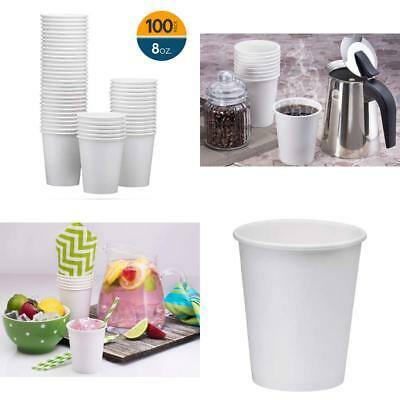 100 Pack 8Oz White Paper Disposable Cups Hot Cold Beverage Drinking Cup For New