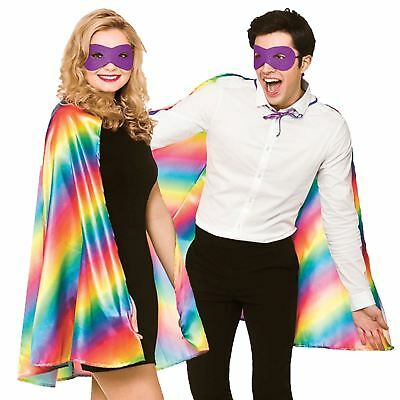Adult Unisex Rainbow Superhero Fancy Dress Halloween Pride Costume Cape Eye Mask