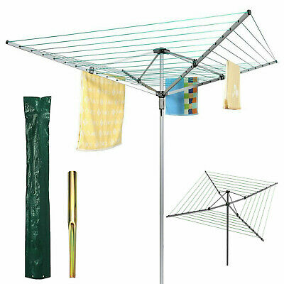 4 Arm Heavy Duty Rotary Garden Washing Cloth Dryer Airer+Free Cover & Spike 50M