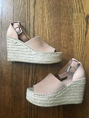 13891afde4b8 MARC FISHER LTD Perforated ADALYN ESPADRILLE WEDGE SANDAL BLUSH SUEDE SIZE  8.5 M