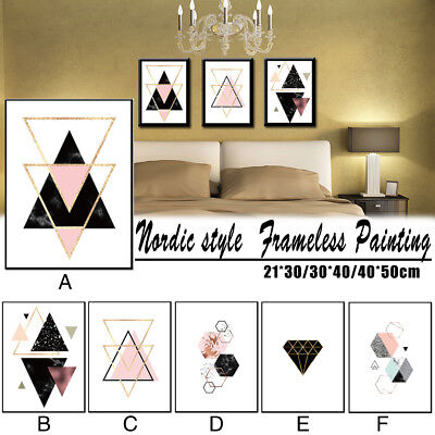 Nordic Style Geometric Frameless Painting Wall Art On Canvas Bedroom Home Decor