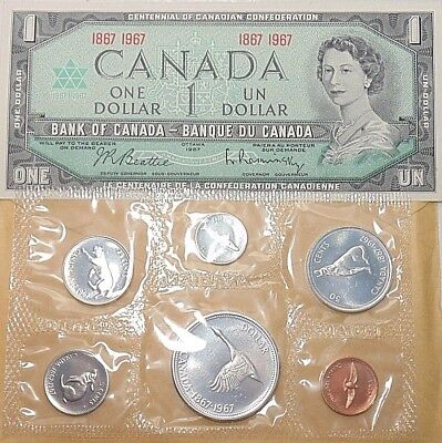 1867 1967 CANADA NOTE + Canadian Centennial Proof Like SILVER coin MINT PL set B