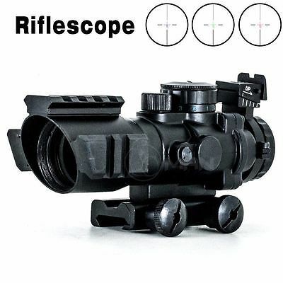 4X32 RGB Prismatic Rifle Scope with Fiber Optic Sight Tri-illuminated