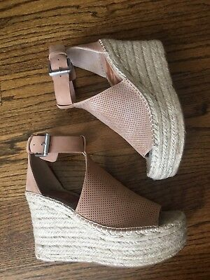 841c2fe8e956 Marc Fisher LTD  Annie  Perforated Espadrille Platform Wedge Blush Suede SZ  7.5
