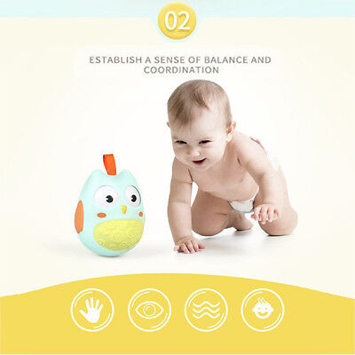 Nodding Moving Eyes Owl Doll Baby Rattles Gifts Tumbler With Bell Kids Toy S