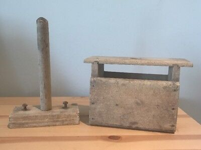 Antique Shaker Style Handmade Wooden Soap Form Mold Primitive Rustic & Plunger