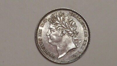 1825 Sixpence. George 1111. V.High Lustrous Grade. Silver Milled.British.1826