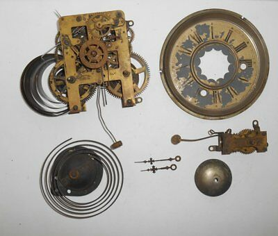 Antique Waterbury Gingerbread Clock Movement w Alarm Bell Gong Hands Pan Parts