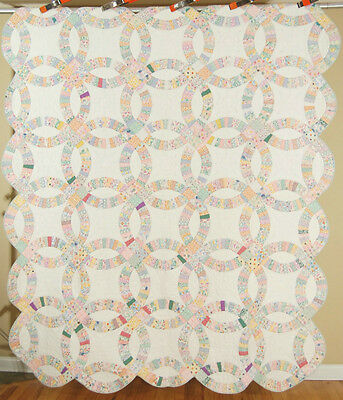 NICELY QUILTED Vintage 30's Double Wedding Ring Antique Quilt ~BEAUTIFUL FABRICS
