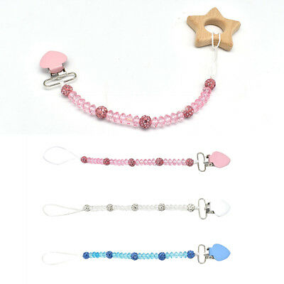3Pcs Baby Girls/Boys Dummy Pacifier Chain Clip Toy Crystal Chain Holder