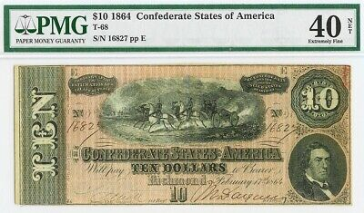 1864 Confederate States Of America $10 Richmond Note T-68 Pmg Extremely Fine 40*