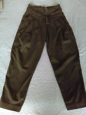 Z. Cavaricci Vintage 80's Olive Green High Waist Pleated Tapered Pants Size 30