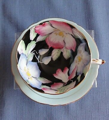 PARAGON CUP AND SAUCER Lite Blue with Flowers Made in England