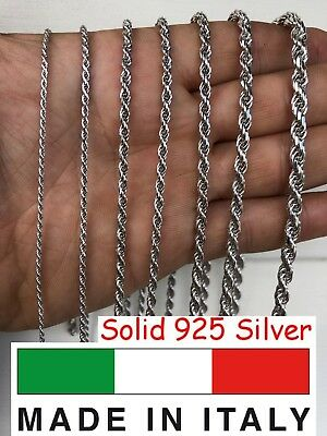 "Men's Women's Real Solid 925 Sterling Silver Rope Chain 1.5-5mm 16""-30"" ITALY"
