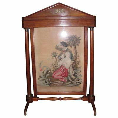 Antique Biedermeier Mahogany Fireplace Screen Petit Point Circa 1820
