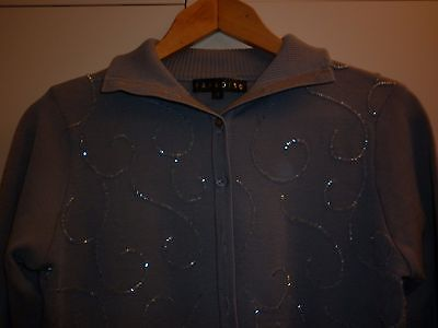 Stylish Beaded Grey Merino Small Wool Cardigan  Excellent Condition