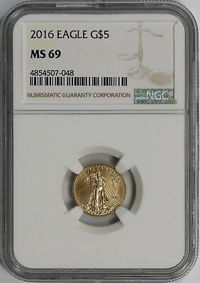 2016 Gold Eagle $5 NGC MS 69 (Tenth-Ounce) 1/10 oz Fine Gold