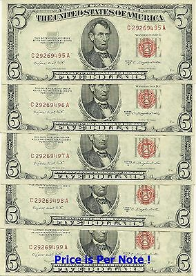 1953-B $5 Red Seal Legal Tender - 1 Note Of 5 Consecutive Gem New Notes !