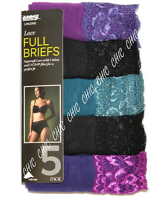 M & S Ladies 5 Pack Cotton Lycra Contrast Lace Full Briefs Knickers Size 8 - 22