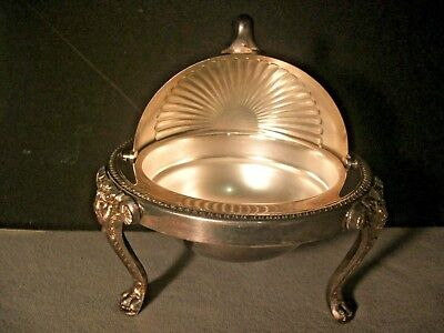 """F.B. Rogers Silver Co Footed Round Bowl Roll Top Domed Butter Dish 5"""" x 4 3/4"""""""