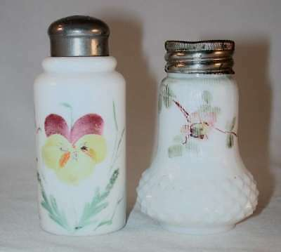 Pair of Antique Hand Painted Opaque White Opalware Mold Blown Glass Salt Shakers