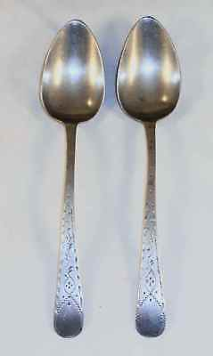 Rare 18th Century Pair of Pewter Tablespoons By William Tutin Birmingham England